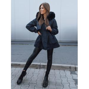 Nadčasová dámska tmavo modrá bunda na zimu s kožušinou vo vnútri a kapucni