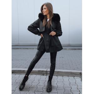 Čierna dámska bunda na zimu s bohatou čiernou kožušinou a kožúškom