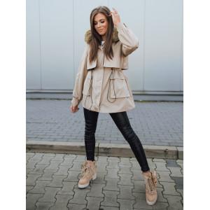 Krásna dámska béžová bunda na zimu zateplená kožušinou