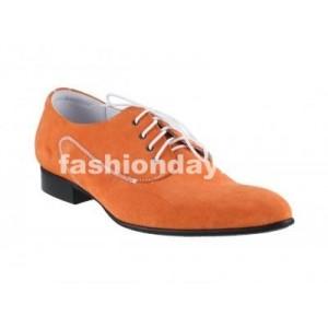 Pánske kožené extravagantné topánky oranžové