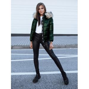 Krátka dámska lesklá zelená prešívaná bunda na zimu s kapucňou
