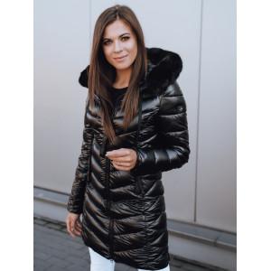 Dámska čierna prešívaná vetrovka na zimu s kožušinovou kapucňou