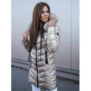 Geniálna dámska zlatá prešívaná zimná bunda na zips s kožušinou