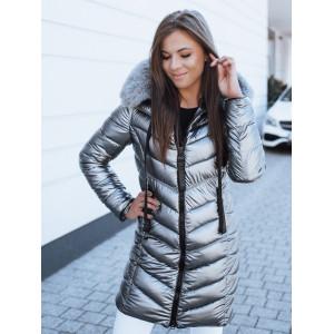 Strieborno sivá dámska prešívaná bunda na zimu s kožušinovou kapucňou