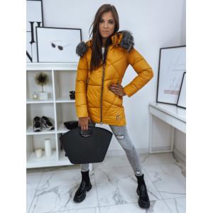 Kvalitná dámska asymetricky prešívaná bunda na zimu s kožušinovou kapucňou