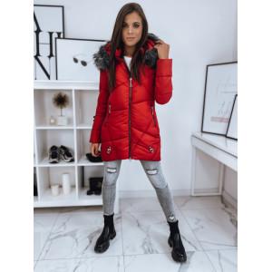 Moderná dámska červená bunda s módnou bohatou kožušinou