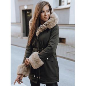Nadčasová dámska army zelená kožušinová bunda parka na zimu s kapucňou