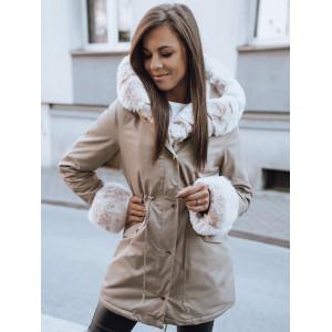 Krásna dámska béžová bunda parka na zimu s odopínateľnou kožušinou