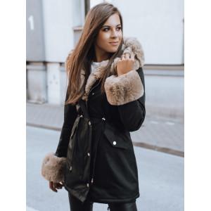 Dámska čierna bunda na zimu s bohatou kožušinou