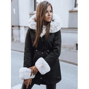 Štýlová dámska čierna bunda na zimu parka s bohatou svetlou kožušinou