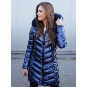 Štýlová dámska prešívaná lesklá modrá vetrovka na zimu s kapucňou