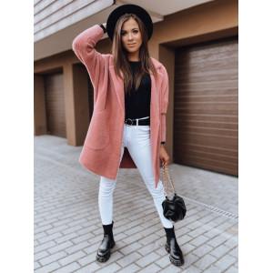 Krásny dámsky oversize alpakový kabát v krásnej malinovej farbe