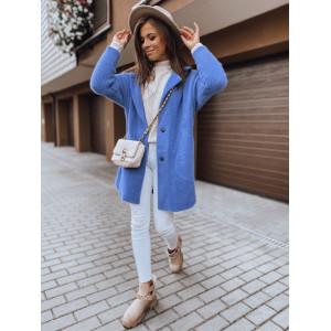 Nadčasový modrý dámsky oversize alpakový kabát sakového strihu