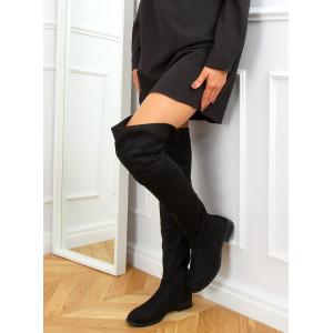 Čierne dámske semišové čižmy nad kolená s nízkou podrážkou