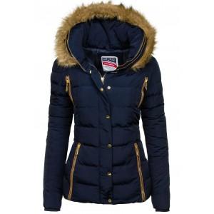 Krátka dámska zimná bunda s kožušinou v tmavomodrej farbe