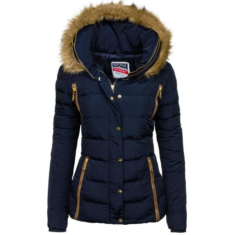 Krátka dámska zimná bunda s kožušinou v tmavomodrej farbe ... b0a5b81f740