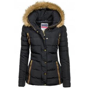 Zateplená dámska zimná bunda s kapucňou čiernej farby