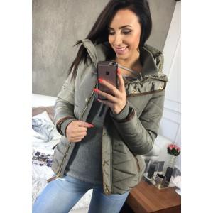 Zimná bunda pre dámy v sivej farbe bez kapucne