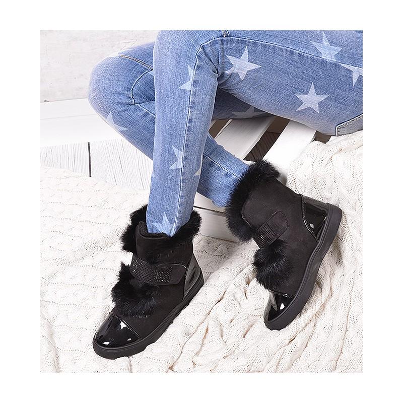 06ea427253 Kotníkové čižmy na zimu v čiernej farbe s kožušinou - fashionday.eu