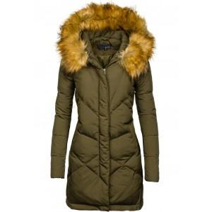Tmavozelená dámska zimná bunda s kožušinou