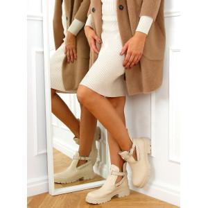 Trendy dámske béžové členkové topánky s hrubou podrážkou a vybíjaním