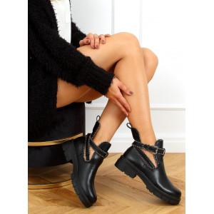 Originálne dámske čierne členkové topánky s módnym vybíjaním a prackou