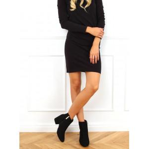 Elegantné dámske čierne semišové členkové topánky na plnom opätku
