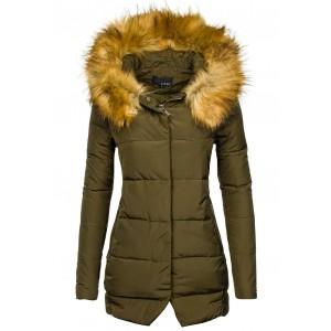Khaki dámska zimná vetrovka s kožušinou