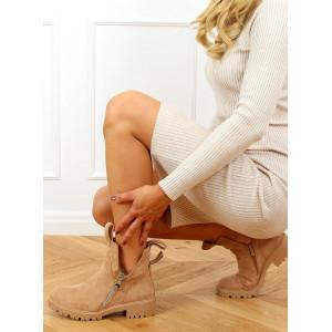 Originálne dámske béžové zateplené členkové topánky na platforme
