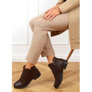 Pohodlné dámske tmavo hnedé členkové zateplené topánky