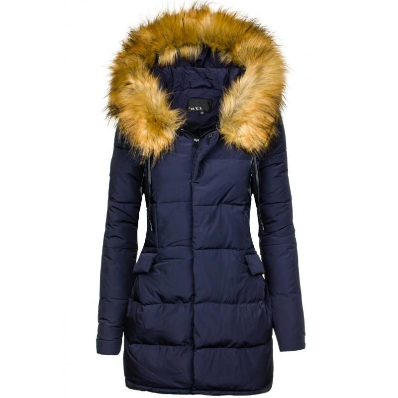 Dlhá dámska zimná vetrovka modrá - fashionday.eu bb48fbd6540