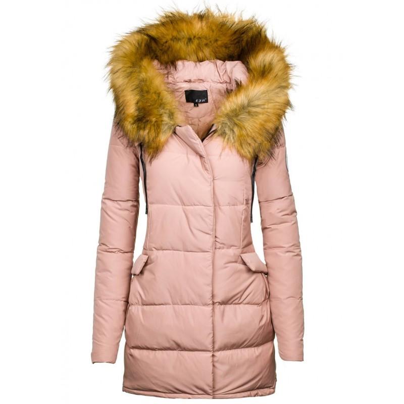 Ružová dámska zimná vetrovka s kožušinou - fashionday.eu e329909e25b