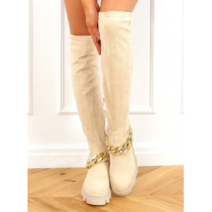 Dámske béžové vysoké čižmy nad kolená s reťazou