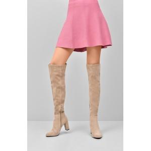 Čierne semišové dámske čižmy nad kolená s trendy zadným viazaním 1e29c9fb1de