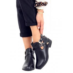 Štýlové dámske čierne členkové topánky s remienkami