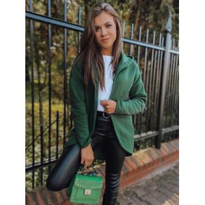 Krásna dámska prechodná oversize zelená mikina s kapucňou