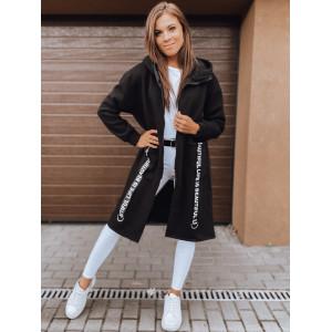 Trendy dámska oversize čierna mikina s kapucňou a zapínaním na zips