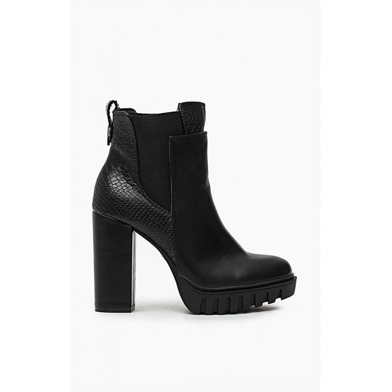 38728ed9d6 Čierne dámske zimné kotníčky na hrubom podpätku - fashionday.eu