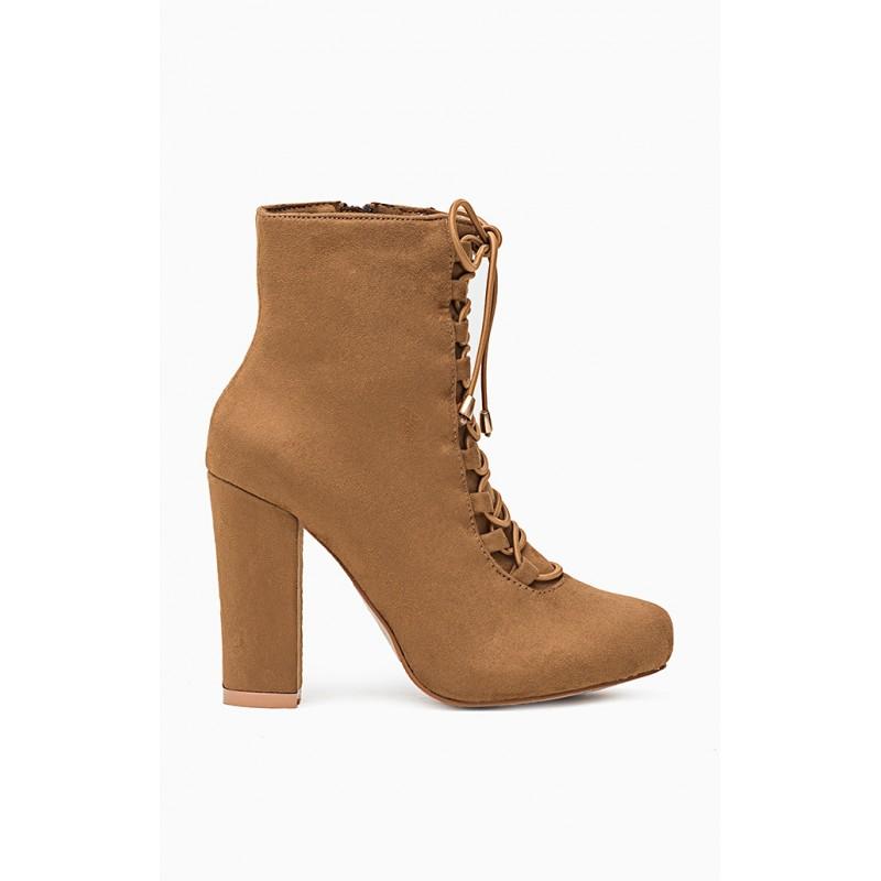 Hnedé dámske členkové čižmy s hrubým podpätkom - fashionday.eu 4273346da5c