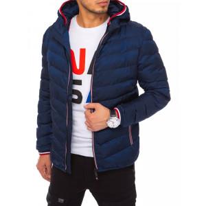 Tmavo modrá pánska prešívaná bunda s odopínateľnou kapucňou