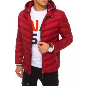 Športová pánska červená prešívaná bunda s kapucňou