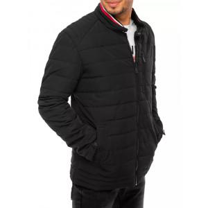 Pánska čierna prešívaná bunda s nízkym stand up golierom na zips
