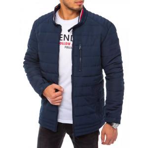 Moderná pánska tmavo modrá prešívaná bunda na zimu so stand up golierom