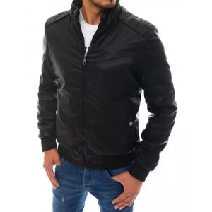 Moderná pánska čierna kožená bunda so stand up golierom