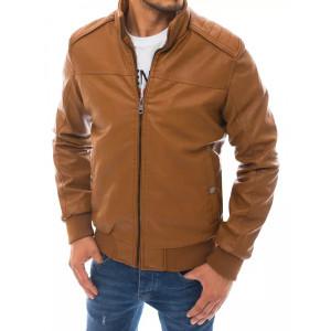 Štýlová pánska hnedá camel kožená bunda oteplená kožušinou