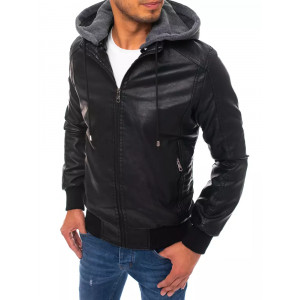 Čierna športová kožená bunda s kapucňou z teplákoviny