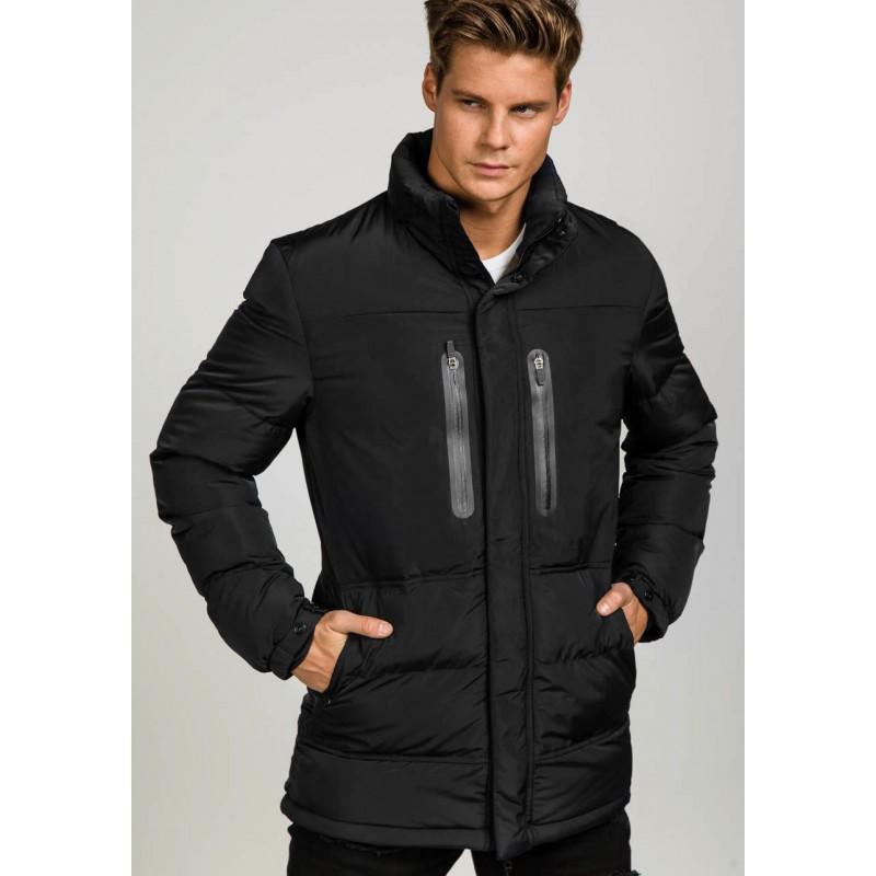 Čierna pánska zimná bunda s kapucňou dlhá - fashionday.eu b6d32b7c005