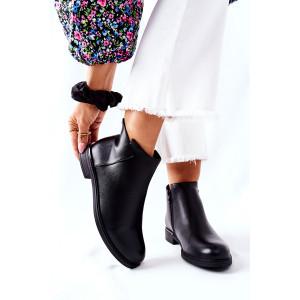 Pohodlné dámske čierne členkové topánky basic štýlu