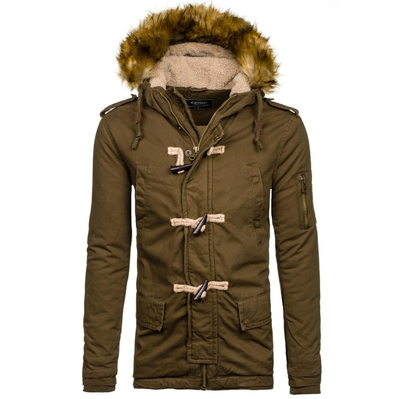 Khaki pánska zimná bunda s kapucňou - fashionday.eu 39d6f83ca8f