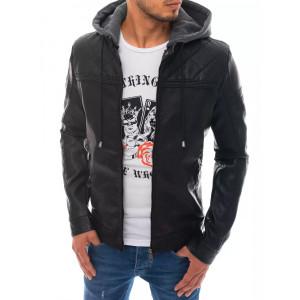 Krásna pánska čierna kožená bunda so stand up golierom a golierom